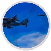 Space Shuttle Over Griffith Park Round Beach Towel