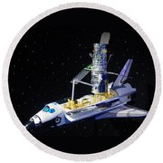 Space Shuttle With Hubble Telescope Round Beach Towel