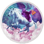 Space Sloth On Unicorn - Sloth Pizza Round Beach Towel