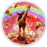 Space Sloth Riding Giraffe Unicorn - Pizza And Taco Round Beach Towel