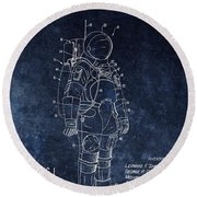 Space Suit Patent Illustration Round Beach Towel