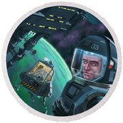 Spaceman With Space Station Orbiting Green Planet Round Beach Towel