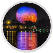 Spaceship Earth Reflection Round Beach Towel