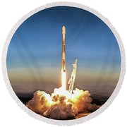 Spacex Iridium-5 Mission Falcon 9 Rocket Launch Round Beach Towel