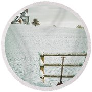Spade Leaning Against Fence In The Snow Round Beach Towel