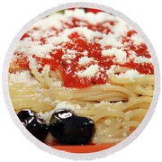 Spaghetti With Tomatoes And Olives Food Background Round Beach Towel