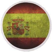 Spain Distressed Flag Dehner Round Beach Towel