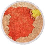 Spanish And Catalonia Tattoo With Stitches Round Beach Towel