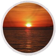 Spanish Banks Sunset - Digital Oil Round Beach Towel