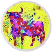 Spanish Bull  Toro Bravo Round Beach Towel