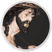 Spanish Christ Round Beach Towel