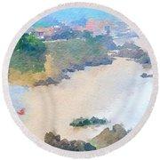 Spanish Coastline Waterline  Round Beach Towel