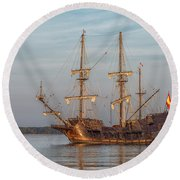 Spanish Galleon Round Beach Towel