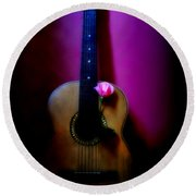 Spanish Guitar And Pink Rose Round Beach Towel