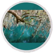 Spanish Moss And Emerald Green Water Round Beach Towel