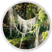 Spanish Moss Over The Swamp Round Beach Towel