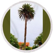 Spanish Palm Tree Round Beach Towel
