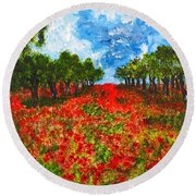 Spanish Poppies Round Beach Towel