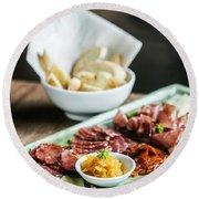 Spanish Smoked Meats Ham And Cheese Platter Starter Dish Round Beach Towel
