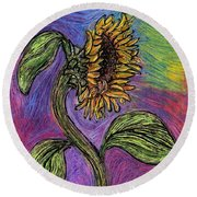 Spanish Sunflower Round Beach Towel