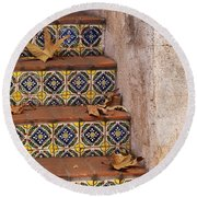 Spanish Tile Stair  Round Beach Towel