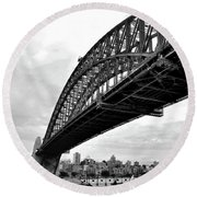 Spanning Sydney Harbour - Black And White Round Beach Towel