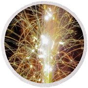 Spark Of The Fountain Round Beach Towel
