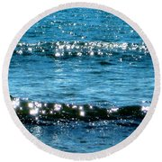 Sparkle Waves  Round Beach Towel
