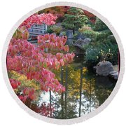 Sparkling Autumn Reflection Round Beach Towel