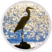 Sparkling Egret Round Beach Towel