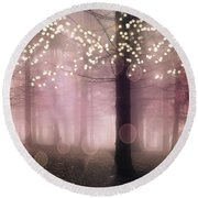 Sparkling Fantasy Fairytale Trees Nature Pink Woodlands - Sparkling Lights Bokeh Fantasy Trees Round Beach Towel