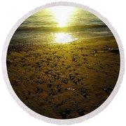 Sparkly Beach Sunset   Round Beach Towel
