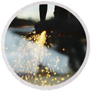 Sparks From Cutting Metal Round Beach Towel