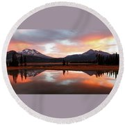 Sparks Lake Sunrise Round Beach Towel