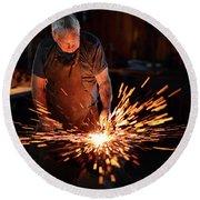 Sparks When Blacksmith Hit Hot Iron Round Beach Towel
