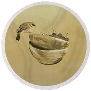 Sparrow And Bowl Of Cherries Round Beach Towel
