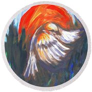 Sparrow In Flight Two Round Beach Towel