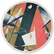 Spatial Force Construction Round Beach Towel