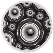 Speakers Over Black Round Beach Towel