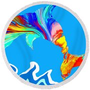 Speaking With Dolphins Round Beach Towel