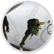 Special Operations Jumpers Exit A C-130 Round Beach Towel