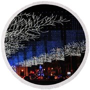 Spectacular Christmas Lighting In Madrid, Spain Round Beach Towel