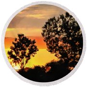 Spectacular Sunset In The Midwest Round Beach Towel