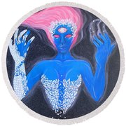 Spectral Space Round Beach Towel