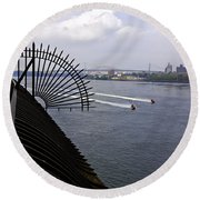 Speed Boats On The East River Round Beach Towel