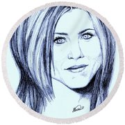 Speed Drawing Of Jennifer Aniston  Round Beach Towel