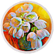 Spektrel Flowers Round Beach Towel