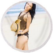Spellbound Beach Beauty Round Beach Towel