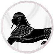 Sphinx - Mythical Creature Of Ancient Egypt Round Beach Towel