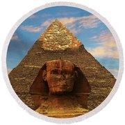 Sphinx And Pyramid Of Khafre Round Beach Towel